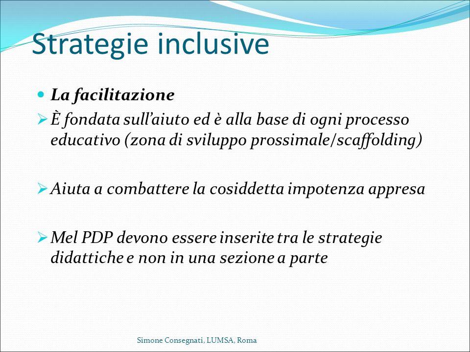 Strategie inclusive La facilitazione  È fondata sull'aiuto ed è alla base di ogni processo educativo (zona di sviluppo prossimale/scaffolding)  Aiut