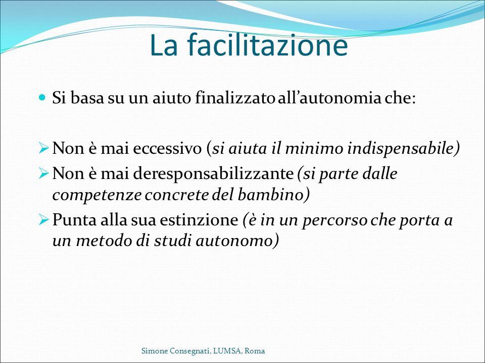 La facilitazione Si basa su un aiuto finalizzato all'autonomia che:  Non è mai eccessivo (si aiuta il minimo indispensabile)  Non è mai deresponsabi