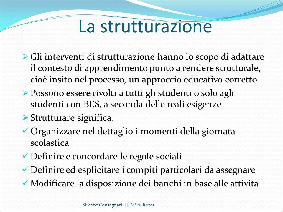 La strutturazione  Gli interventi di strutturazione hanno lo scopo di adattare il contesto di apprendimento punto a rendere strutturale, cioè insito