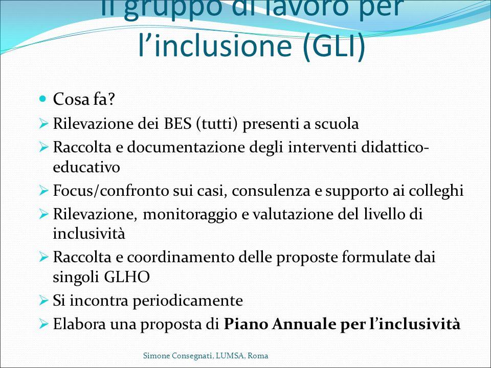 Il gruppo di lavoro per l'inclusione (GLI) Cosa fa?  Rilevazione dei BES (tutti) presenti a scuola  Raccolta e documentazione degli interventi didat