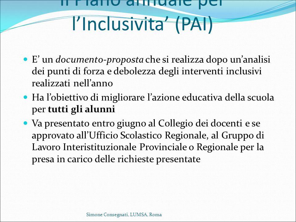 Il Piano annuale per l'Inclusivita' (PAI) E' un documento-proposta che si realizza dopo un'analisi dei punti di forza e debolezza degli interventi inc