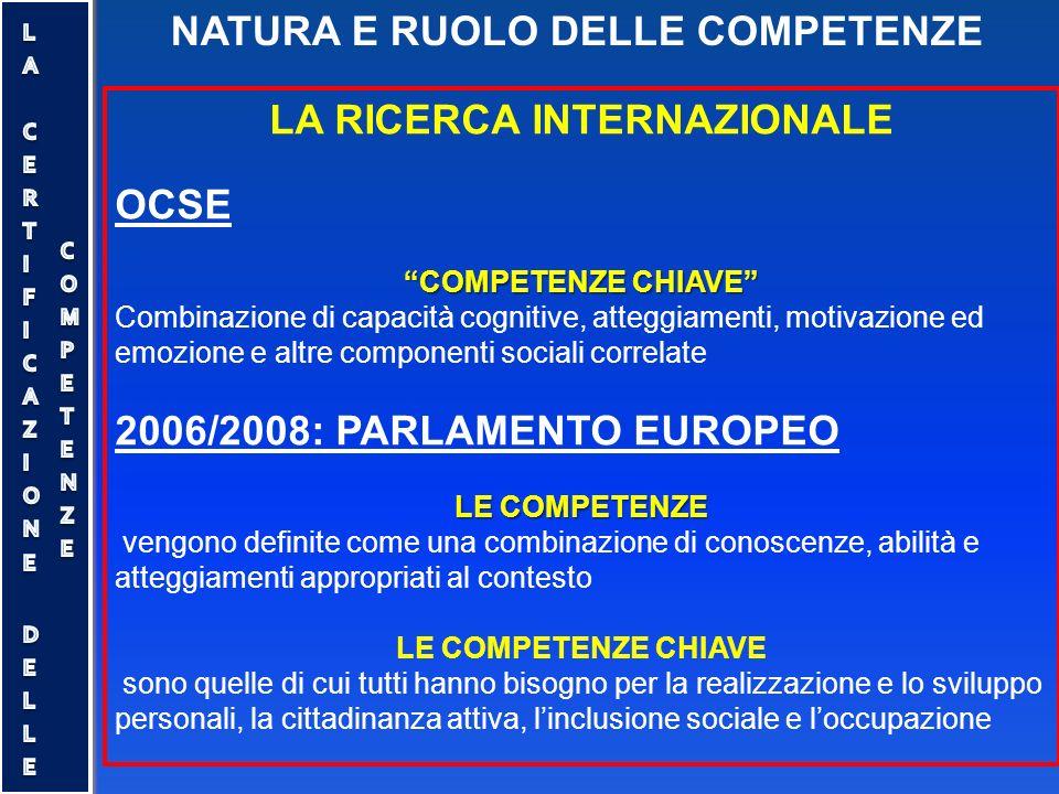 """NATURA E RUOLO DELLE COMPETENZE LA RICERCA INTERNAZIONALE OCSE """"COMPETENZE CHIAVE"""" Combinazione di capacità cognitive, atteggiamenti, motivazione ed e"""