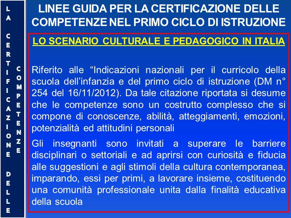 """LINEE GUIDA PER LA CERTIFICAZIONE DELLE COMPETENZE NEL PRIMO CICLO DI ISTRUZIONE LO SCENARIO CULTURALE E PEDAGOGICO IN ITALIA Riferito alle """"Indicazio"""