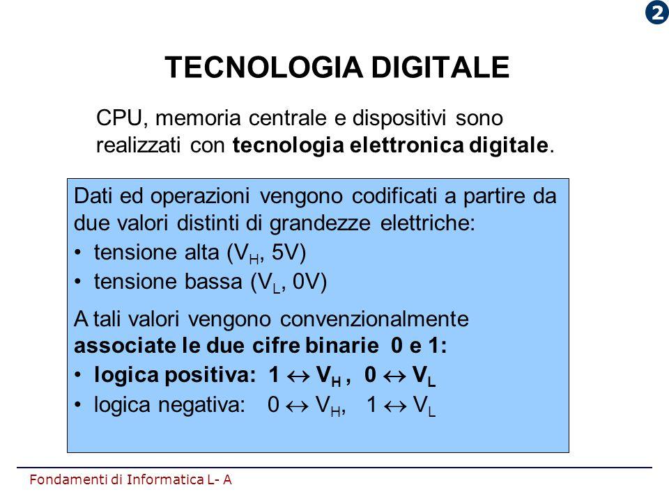 Fondamenti di Informatica L- A TECNOLOGIA DIGITALE Dati ed operazioni vengono codificati a partire da due valori distinti di grandezze elettriche: ten