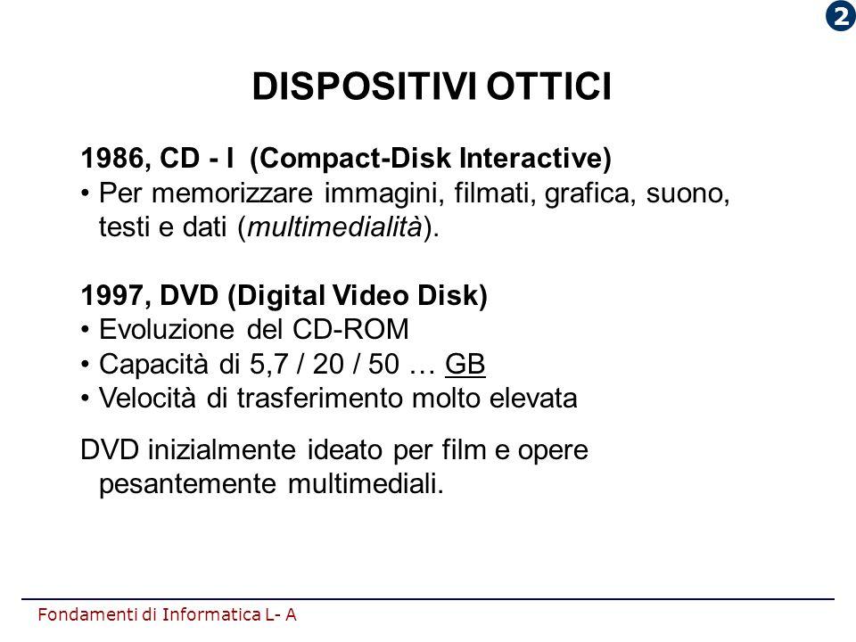 Fondamenti di Informatica L- A DISPOSITIVI OTTICI 1986, CD - I (Compact-Disk Interactive) Per memorizzare immagini, filmati, grafica, suono, testi e d
