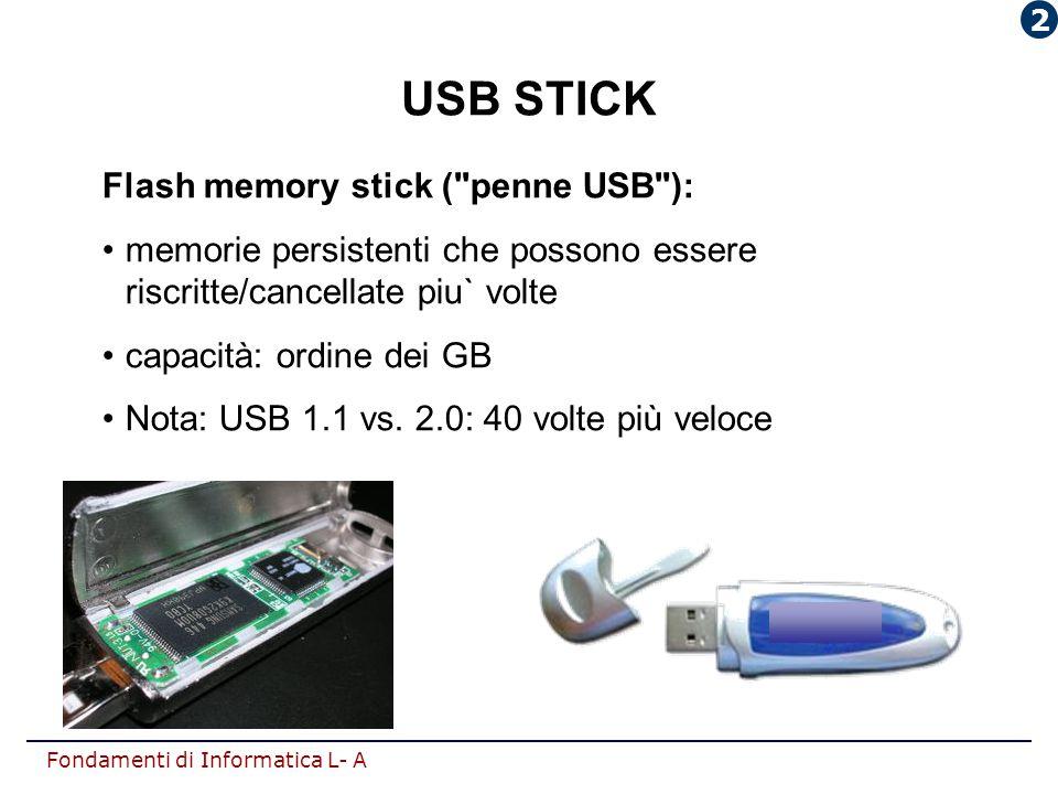 Fondamenti di Informatica L- A USB STICK Flash memory stick (