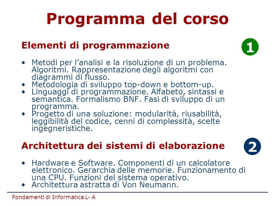 Fondamenti di Informatica L- A Programma del corso Elementi di programmazione Metodi per l'analisi e la risoluzione di un problema. Algoritmi. Rappres