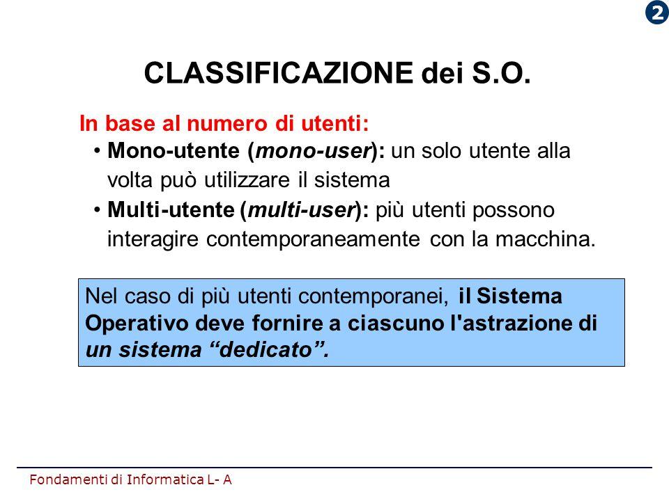 Fondamenti di Informatica L- A CLASSIFICAZIONE dei S.O. Nel caso di più utenti contemporanei, il Sistema Operativo deve fornire a ciascuno l'astrazion