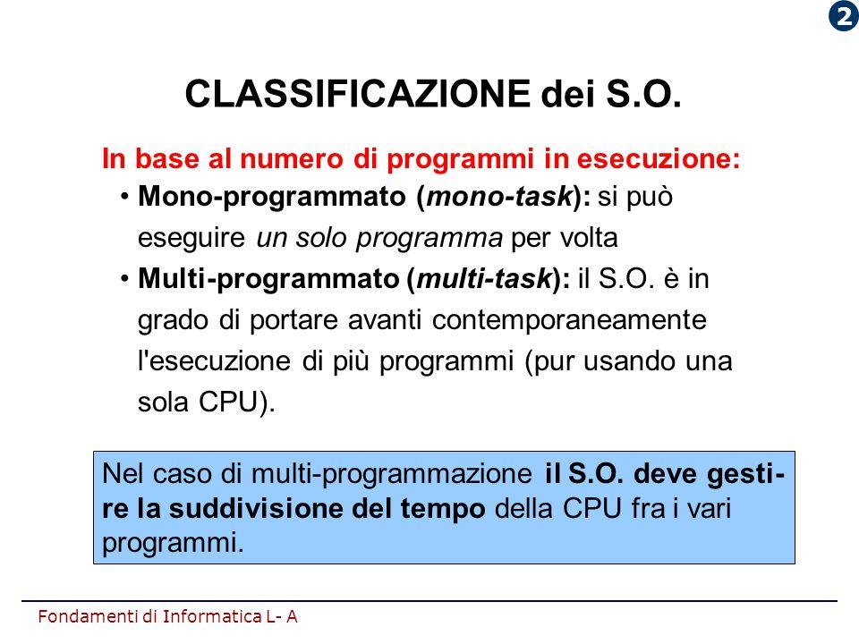 Fondamenti di Informatica L- A CLASSIFICAZIONE dei S.O. Nel caso di multi-programmazione il S.O. deve gesti- re la suddivisione del tempo della CPU fr