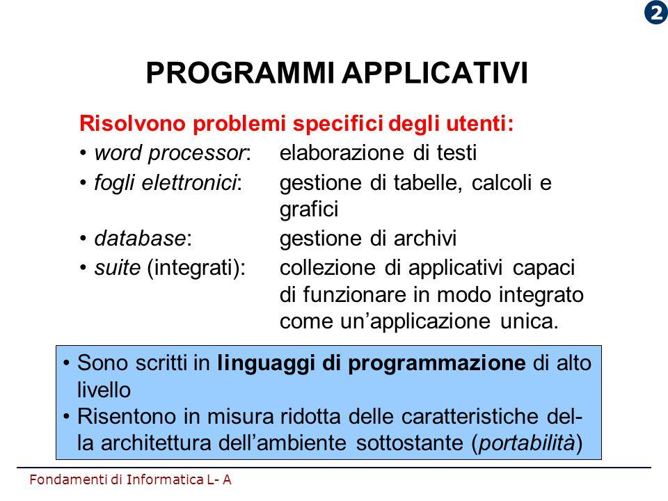 Fondamenti di Informatica L- A PROGRAMMI APPLICATIVI Risolvono problemi specifici degli utenti: word processor:elaborazione di testi fogli elettronici