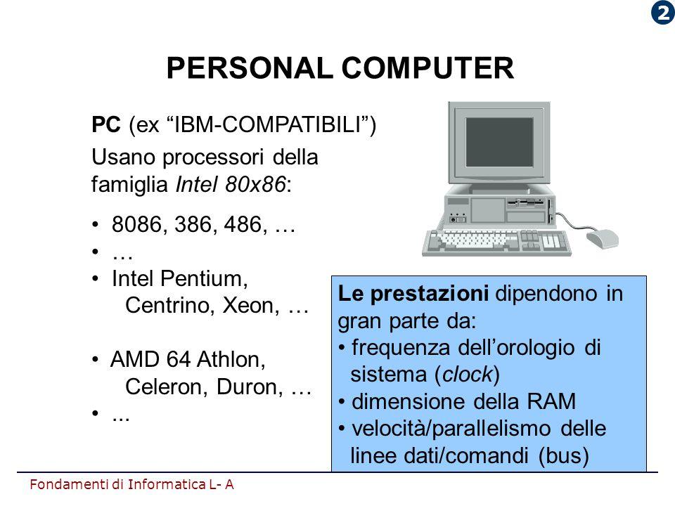 """Fondamenti di Informatica L- A PERSONAL COMPUTER PC (ex """"IBM-COMPATIBILI"""") Usano processori della famiglia Intel 80x86: 8086, 386, 486, … … Intel Pent"""