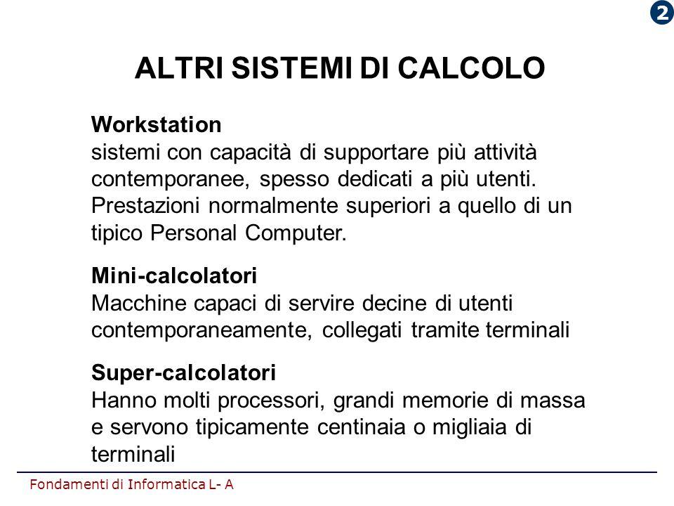 Fondamenti di Informatica L- A ALTRI SISTEMI DI CALCOLO Workstation sistemi con capacità di supportare più attività contemporanee, spesso dedicati a p