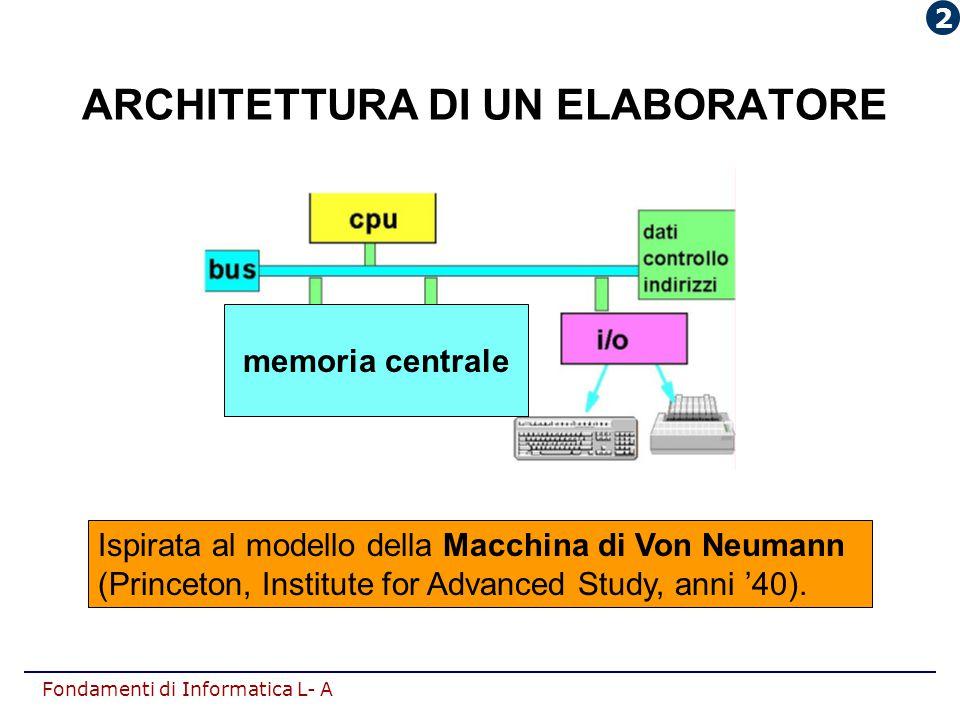 Fondamenti di Informatica L- A ARCHITETTURA DI UN ELABORATORE Ispirata al modello della Macchina di Von Neumann (Princeton, Institute for Advanced Stu