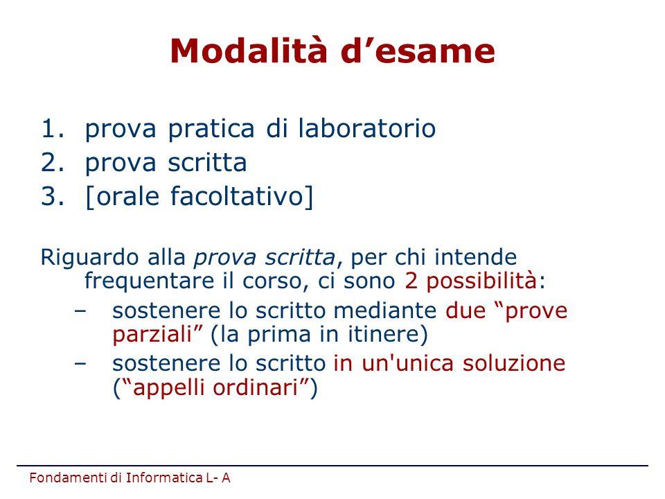Fondamenti di Informatica L- A Modalità d'esame 1.prova pratica di laboratorio 2.prova scritta 3.[orale facoltativo] Riguardo alla prova scritta, per
