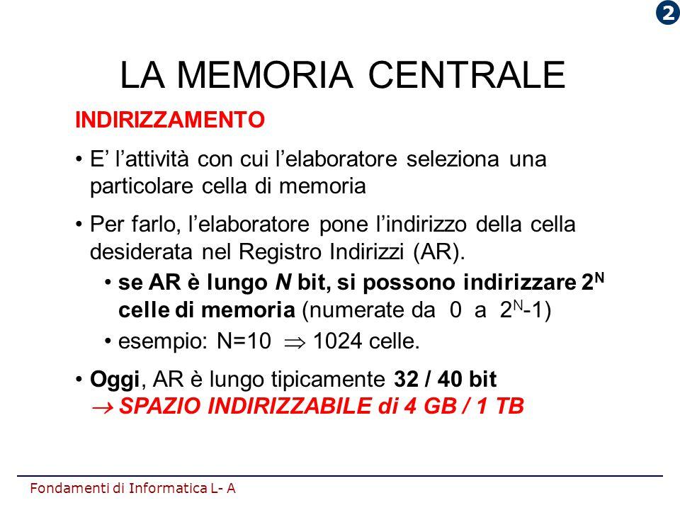 Fondamenti di Informatica L- A LA MEMORIA CENTRALE INDIRIZZAMENTO E' l'attività con cui l'elaboratore seleziona una particolare cella di memoria Per f