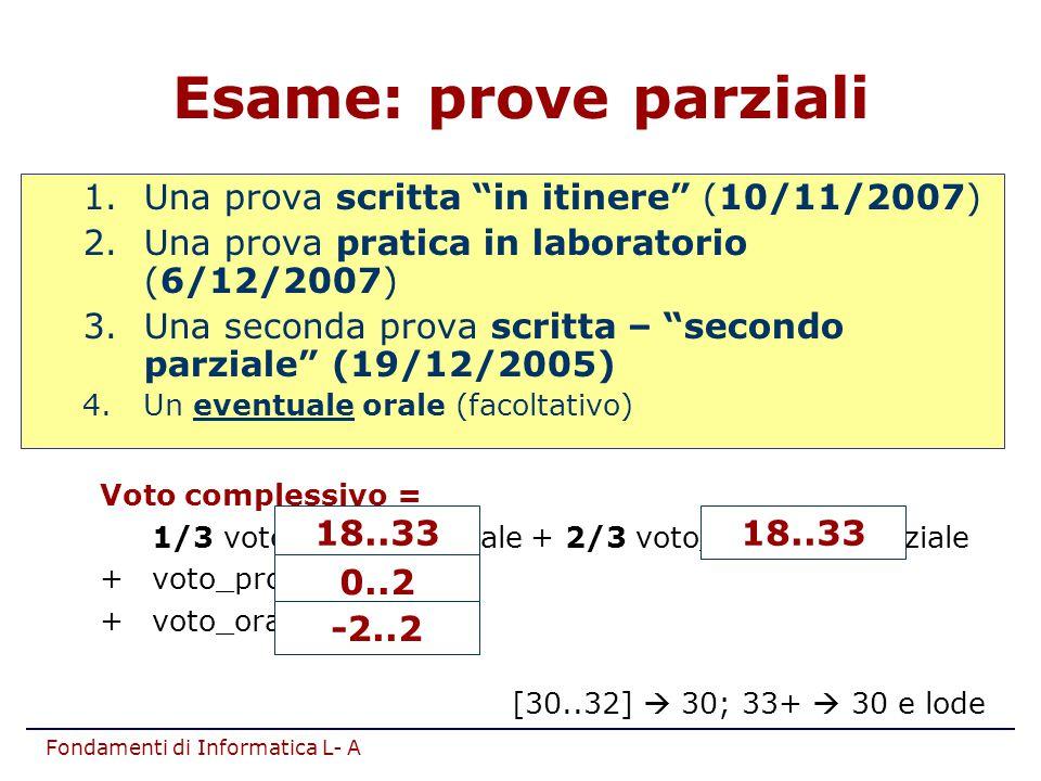 "Fondamenti di Informatica L- A Esame: prove parziali 1.Una prova scritta ""in itinere"" (10/11/2007) 2.Una prova pratica in laboratorio (6/12/2007) 3.Un"