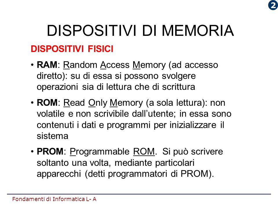 Fondamenti di Informatica L- A DISPOSITIVI DI MEMORIA DISPOSITIVI FISICI RAM: Random Access Memory (ad accesso diretto): su di essa si possono svolger