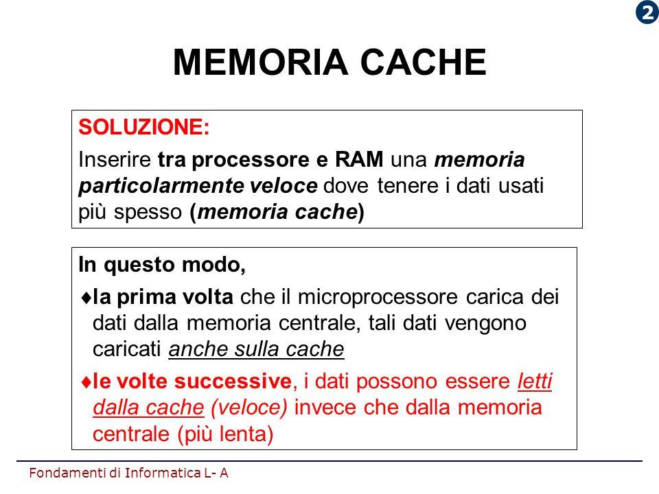 Fondamenti di Informatica L- A SOLUZIONE: Inserire tra processore e RAM una memoria particolarmente veloce dove tenere i dati usati più spesso (memori