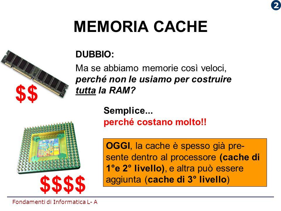 Fondamenti di Informatica L- A DUBBIO: Ma se abbiamo memorie così veloci, perché non le usiamo per costruire tutta la RAM? Semplice... perché costano