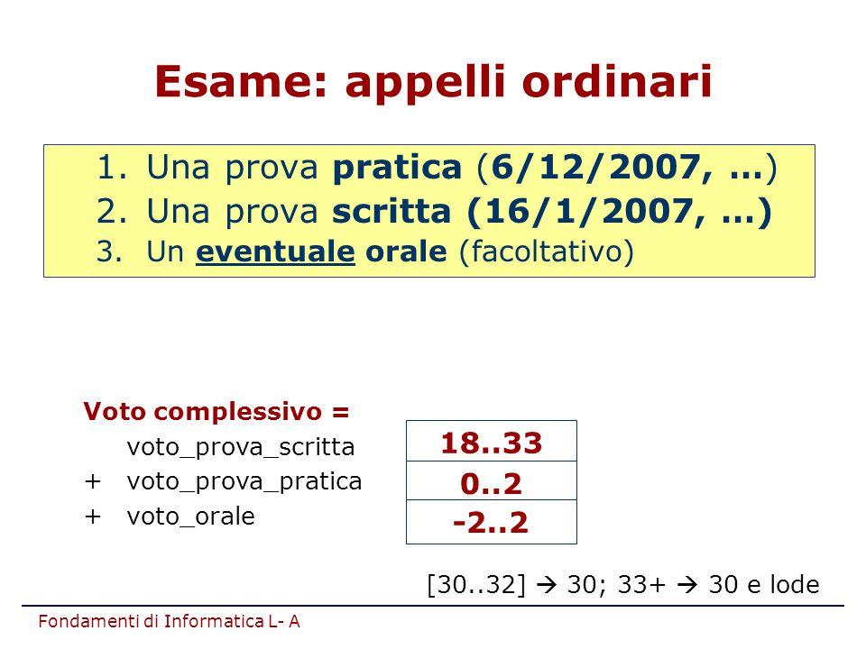 Fondamenti di Informatica L- A Esame: appelli ordinari 1.Una prova pratica (6/12/2007, …) 2.Una prova scritta (16/1/2007, …) 3.Un eventuale orale (fac