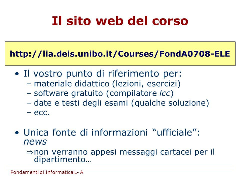 Fondamenti di Informatica L- A http://lia.deis.unibo.it/Courses/FondA0708-ELE Il vostro punto di riferimento per: –materiale didattico (lezioni, eserc