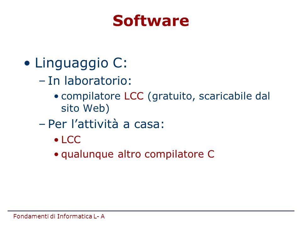 Fondamenti di Informatica L- A Linguaggio C: –In laboratorio: compilatore LCC (gratuito, scaricabile dal sito Web) –Per l'attività a casa: LCC qualunq