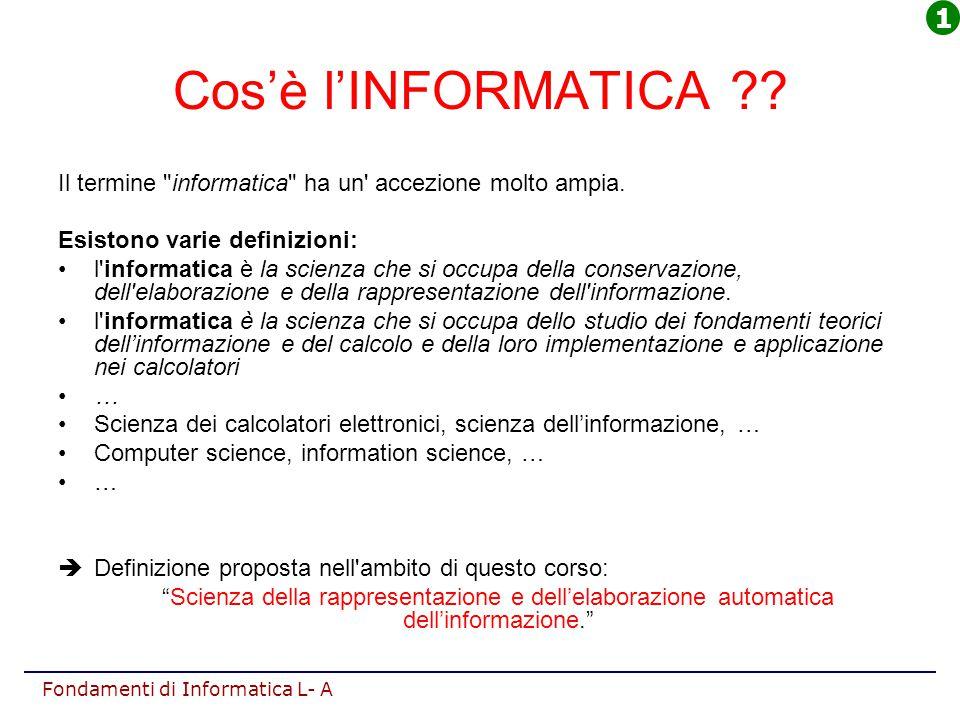 Fondamenti di Informatica L- A Cos'è l'INFORMATICA ?? Il termine