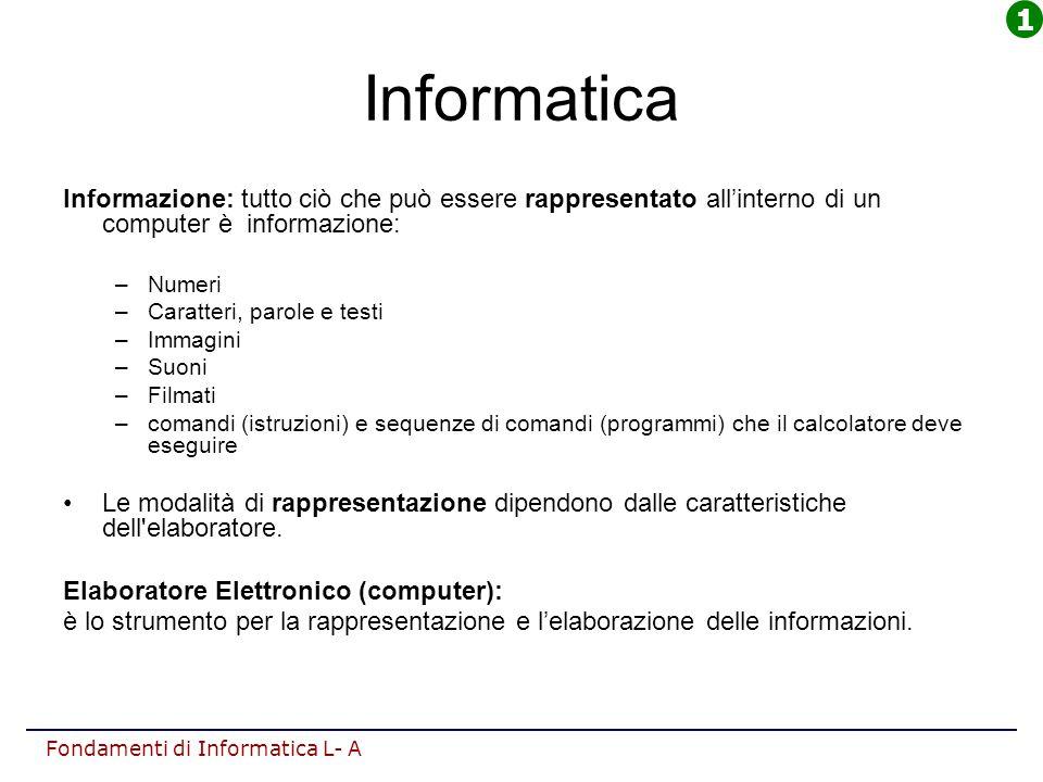 Fondamenti di Informatica L- A Informatica Informazione: tutto ciò che può essere rappresentato all'interno di un computer è informazione: –Numeri –Ca