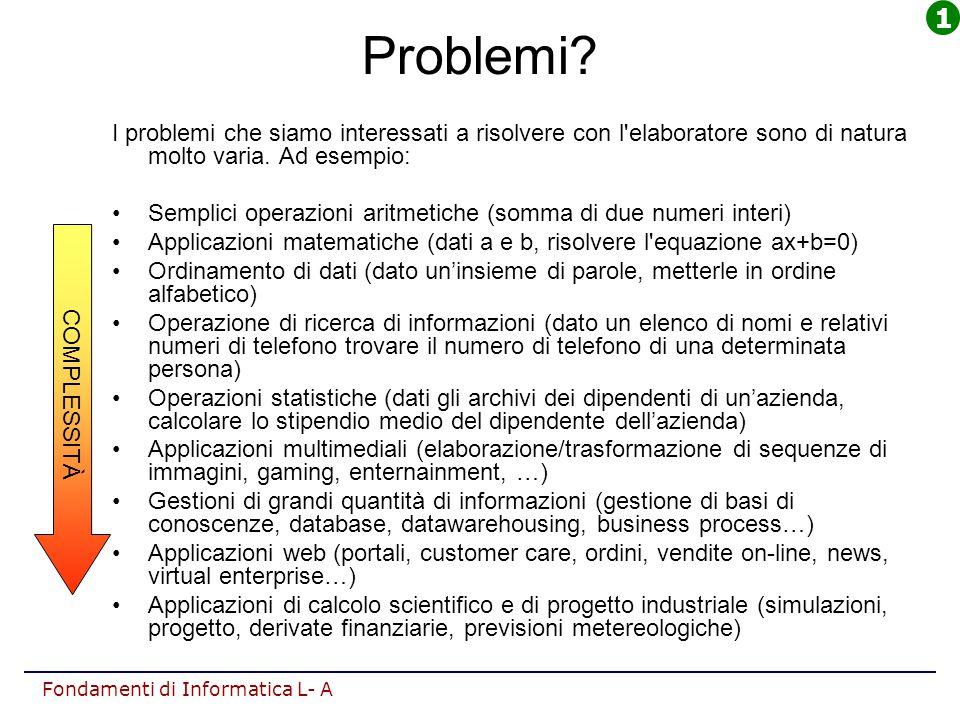 Fondamenti di Informatica L- A Problemi? I problemi che siamo interessati a risolvere con l'elaboratore sono di natura molto varia. Ad esempio: Sempli
