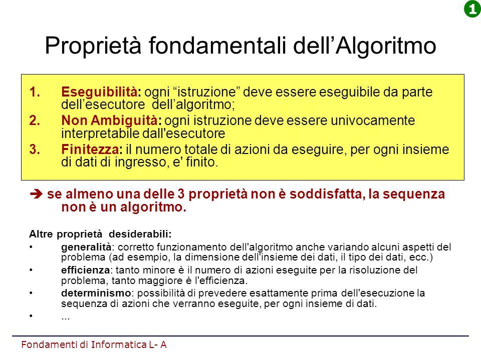 """Fondamenti di Informatica L- A Proprietà fondamentali dell'Algoritmo 1.Eseguibilità: ogni """"istruzione"""" deve essere eseguibile da parte dell'esecutore"""