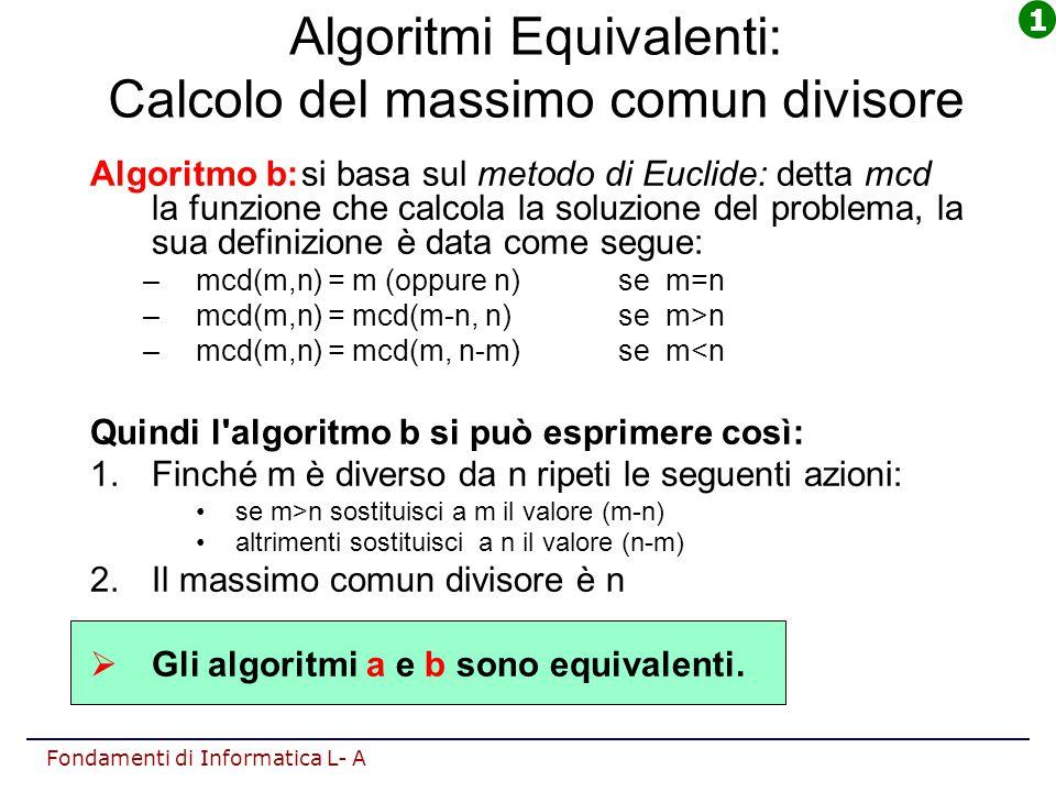 Fondamenti di Informatica L- A Algoritmi Equivalenti: Calcolo del massimo comun divisore Algoritmo b:si basa sul metodo di Euclide: detta mcd la funzi