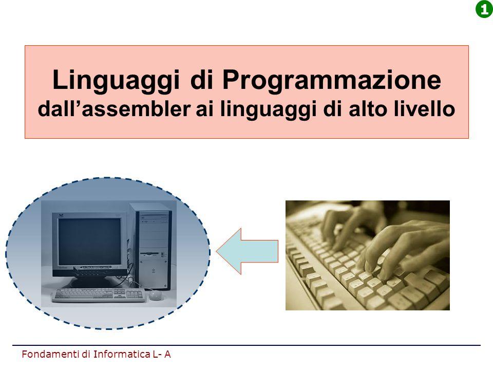Fondamenti di Informatica L- A Linguaggi di Programmazione dall'assembler ai linguaggi di alto livello 1