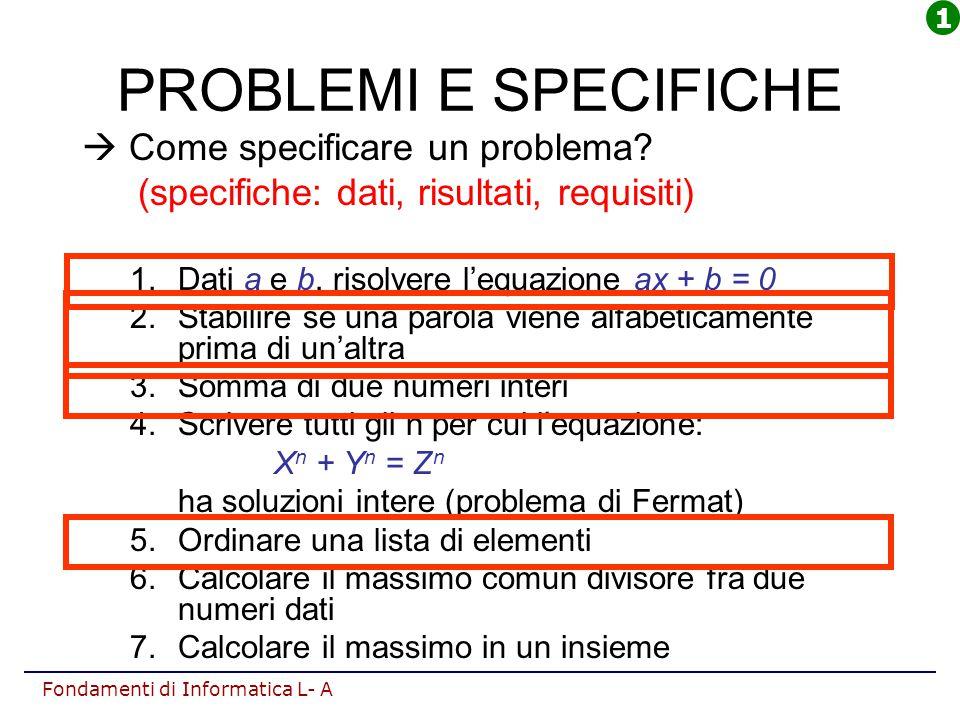 Fondamenti di Informatica L- A PROBLEMI E SPECIFICHE  Come specificare un problema? (specifiche: dati, risultati, requisiti) 1.Dati a e b, risolvere