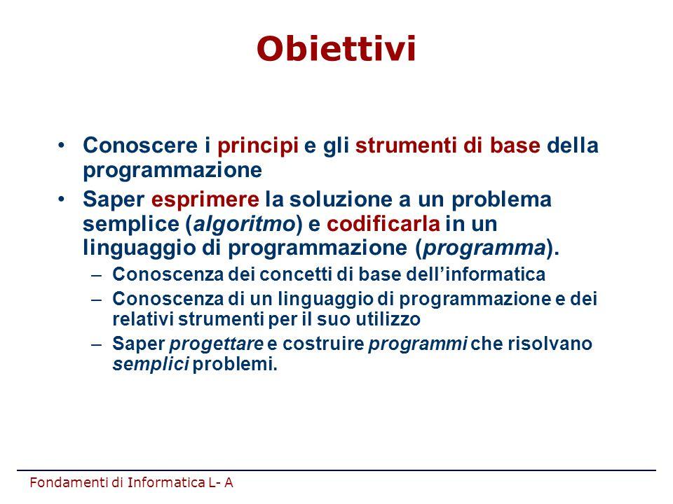 Fondamenti di Informatica L- A Conoscere i principi e gli strumenti di base della programmazione Saper esprimere la soluzione a un problema semplice (