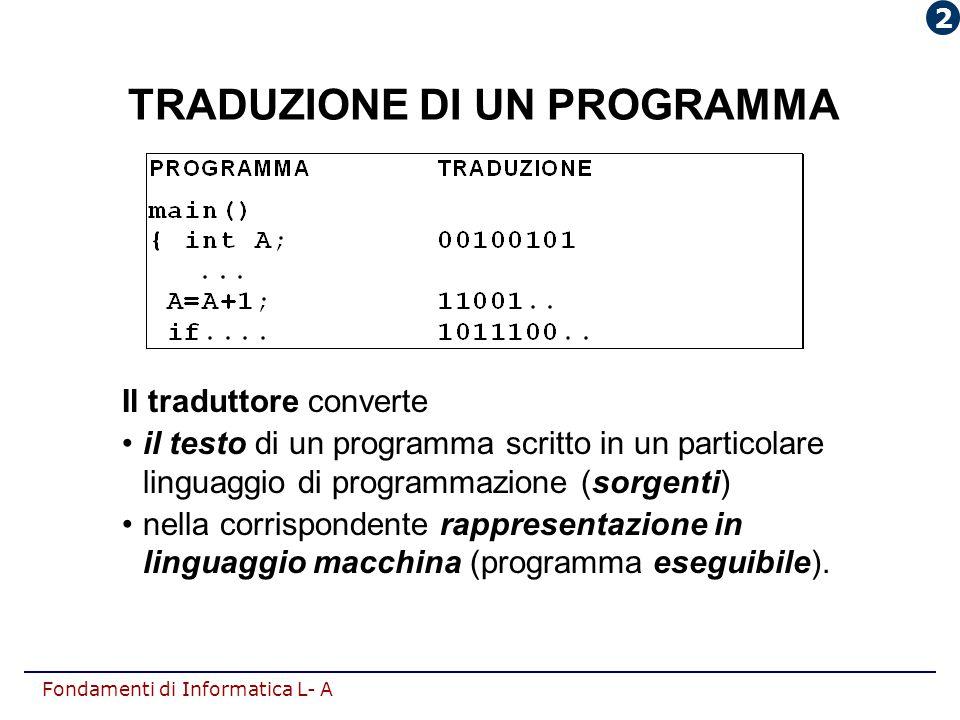Fondamenti di Informatica L- A TRADUZIONE DI UN PROGRAMMA Il traduttore converte il testo di un programma scritto in un particolare linguaggio di prog