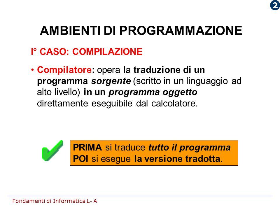 Fondamenti di Informatica L- A AMBIENTI DI PROGRAMMAZIONE I° CASO: COMPILAZIONE Compilatore: opera la traduzione di un programma sorgente (scritto in