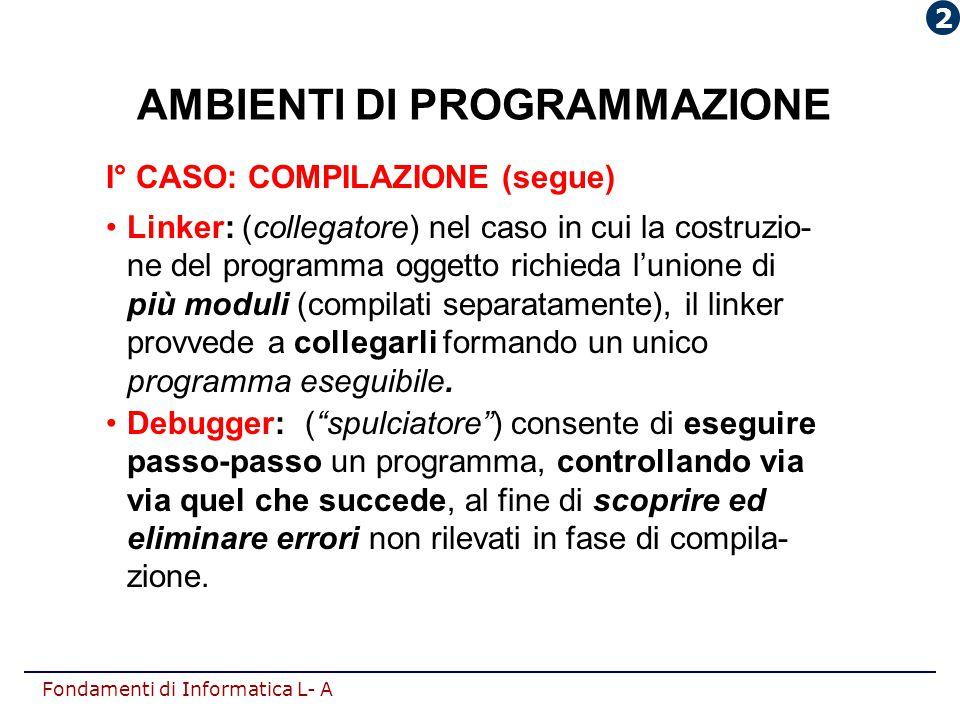 Fondamenti di Informatica L- A AMBIENTI DI PROGRAMMAZIONE I° CASO: COMPILAZIONE (segue) Linker: (collegatore) nel caso in cui la costruzio- ne del pro