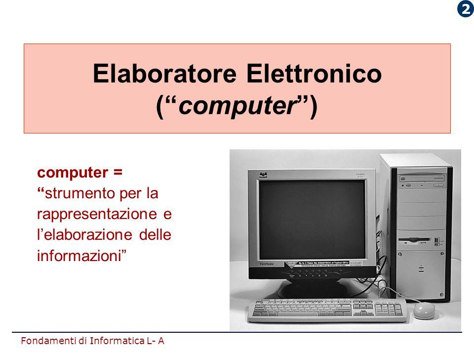 """Fondamenti di Informatica L- A Elaboratore Elettronico (""""computer"""") computer = """"strumento per la rappresentazione e l'elaborazione delle informazioni"""""""