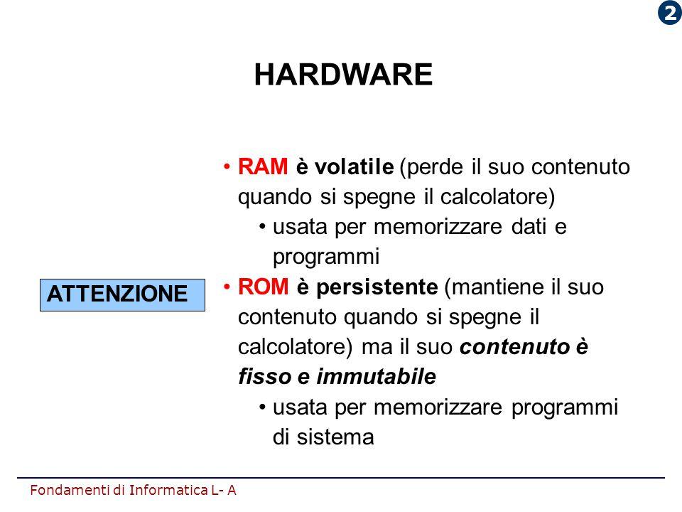 Fondamenti di Informatica L- A HARDWARE RAM è volatile (perde il suo contenuto quando si spegne il calcolatore) usata per memorizzare dati e programmi