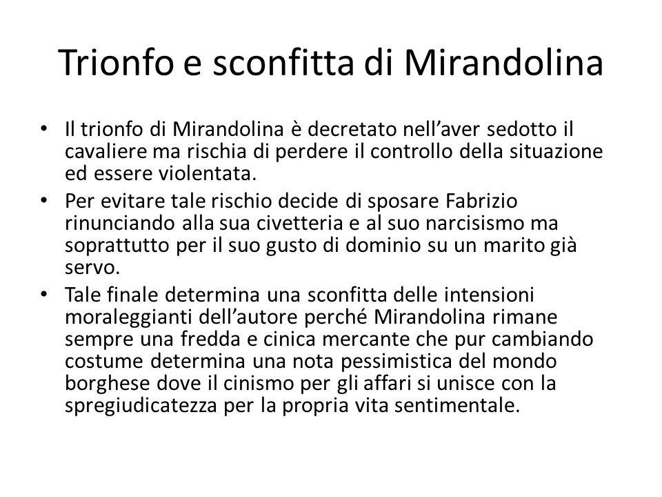 Trionfo e sconfitta di Mirandolina Il trionfo di Mirandolina è decretato nell'aver sedotto il cavaliere ma rischia di perdere il controllo della situazione ed essere violentata.