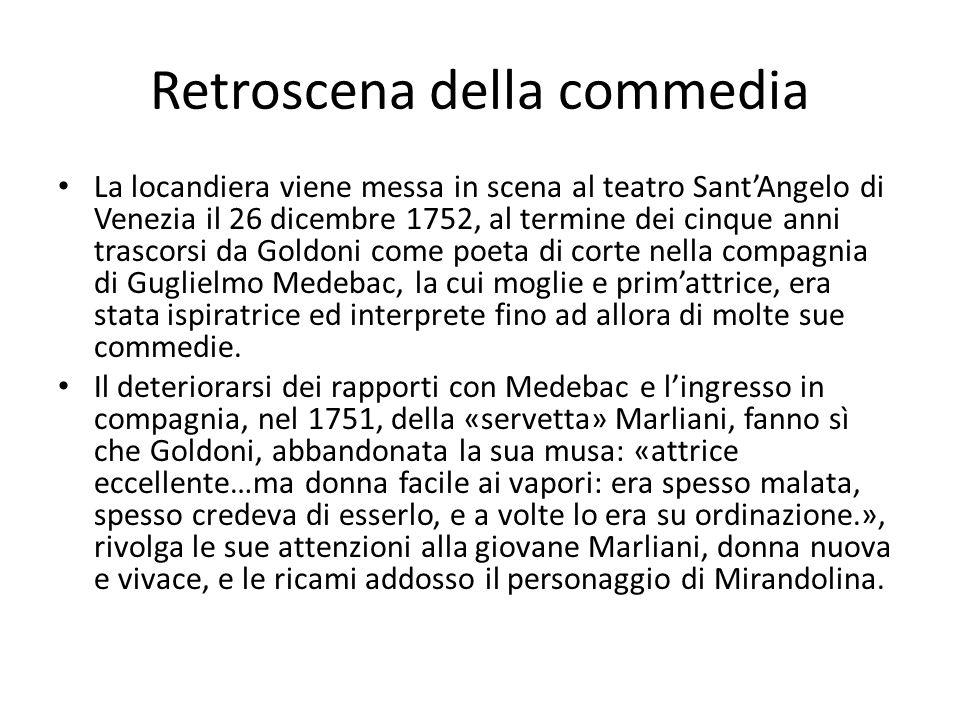 Retroscena della commedia La locandiera viene messa in scena al teatro Sant'Angelo di Venezia il 26 dicembre 1752, al termine dei cinque anni trascorsi da Goldoni come poeta di corte nella compagnia di Guglielmo Medebac, la cui moglie e prim'attrice, era stata ispiratrice ed interprete fino ad allora di molte sue commedie.