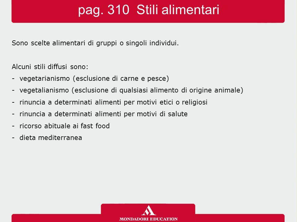 pag.310 Stili alimentari Sono scelte alimentari di gruppi o singoli individui.