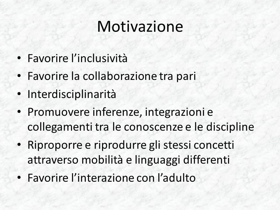 Motivazione Favorire l'inclusività Favorire la collaborazione tra pari Interdisciplinarità Promuovere inferenze, integrazioni e collegamenti tra le co