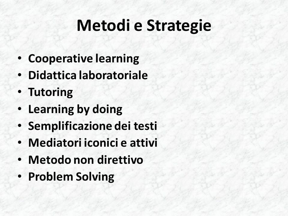 Metodi e Strategie Cooperative learning Didattica laboratoriale Tutoring Learning by doing Semplificazione dei testi Mediatori iconici e attivi Metodo