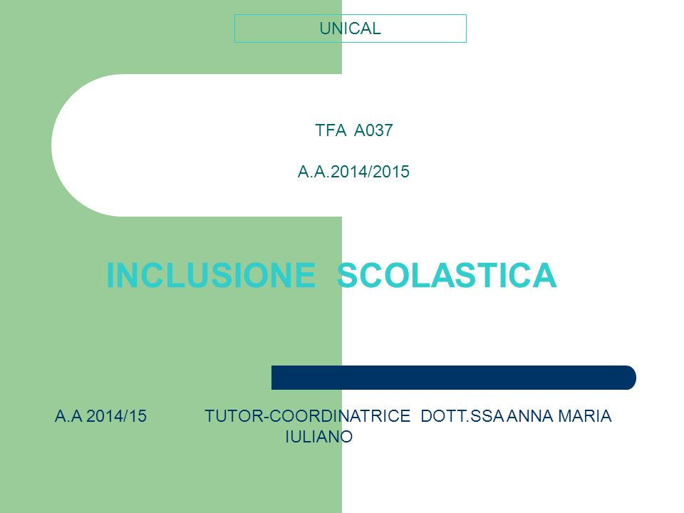 INCLUSIONE SCOLASTICA TFA A037 A.A.2014/2015 UNICAL A.A 2014/15 TUTOR-COORDINATRICE DOTT.SSA ANNA MARIA IULIANO