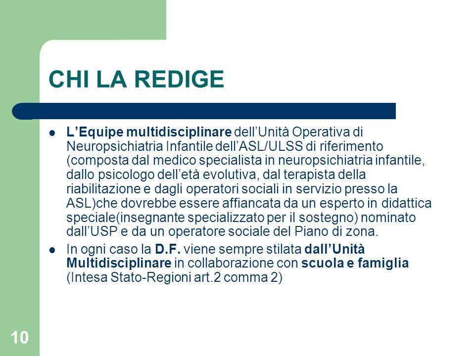 10 CHI LA REDIGE L'Equipe multidisciplinare dell'Unità Operativa di Neuropsichiatria Infantile dell'ASL/ULSS di riferimento (composta dal medico speci