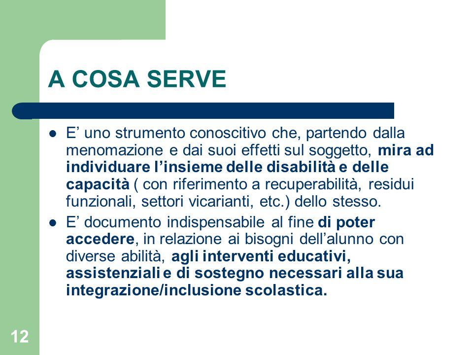 12 A COSA SERVE E' uno strumento conoscitivo che, partendo dalla menomazione e dai suoi effetti sul soggetto, mira ad individuare l'insieme delle disa