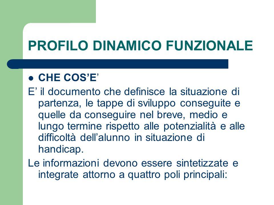 PROFILO DINAMICO FUNZIONALE CHE COS'E' E' il documento che definisce la situazione di partenza, le tappe di sviluppo conseguite e quelle da conseguire