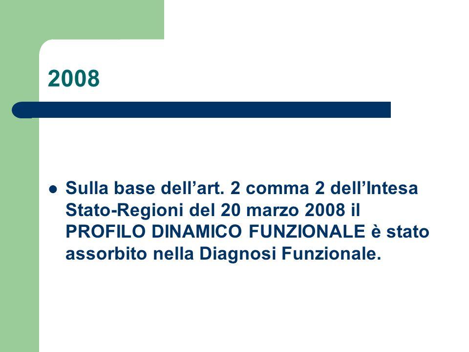 2008 Sulla base dell'art. 2 comma 2 dell'Intesa Stato-Regioni del 20 marzo 2008 il PROFILO DINAMICO FUNZIONALE è stato assorbito nella Diagnosi Funzio