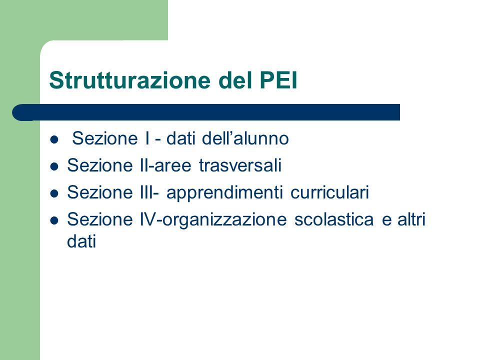 Strutturazione del PEI Sezione I - dati dell'alunno Sezione II-aree trasversali Sezione III- apprendimenti curriculari Sezione IV-organizzazione scola